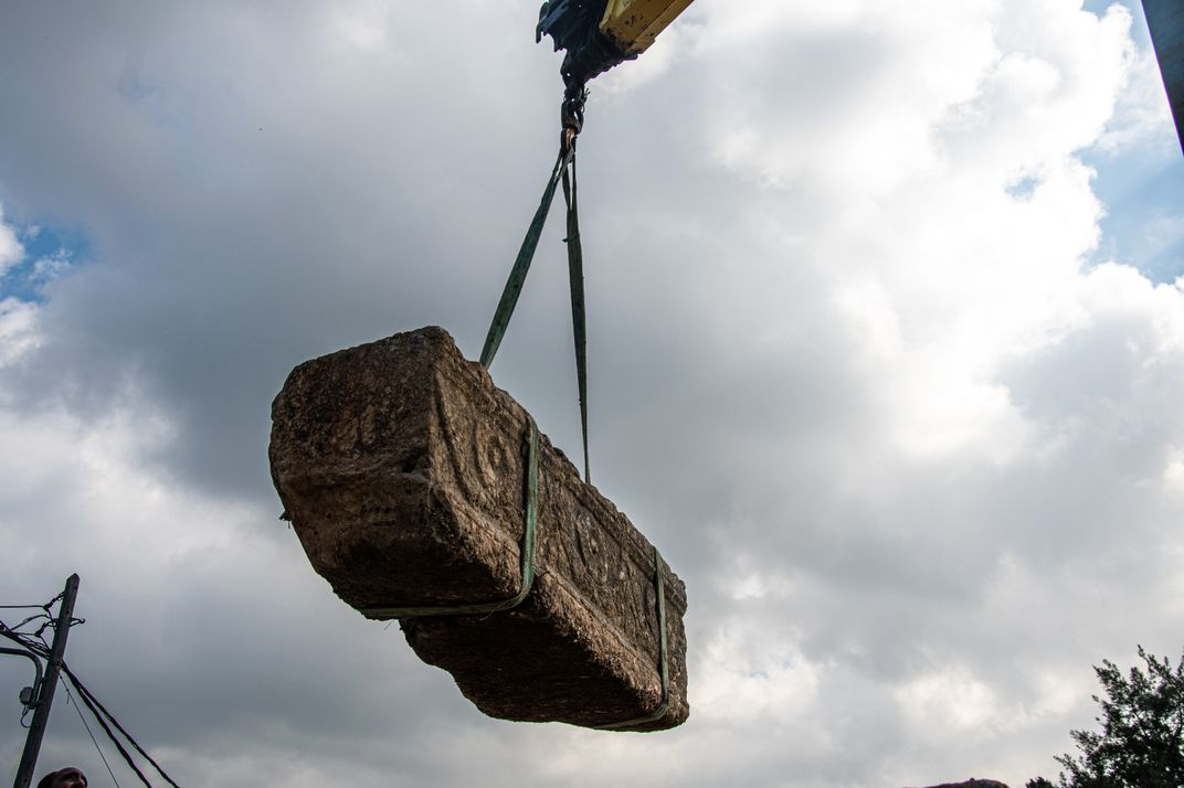 Sarcophagus removed with a crane