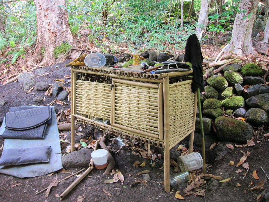 A handmade cabinet is a little luxury for squatters in the valley.