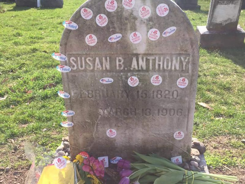 "Why women bring their ""I Voted"" stickers to Susan B. Anthony's grave"
