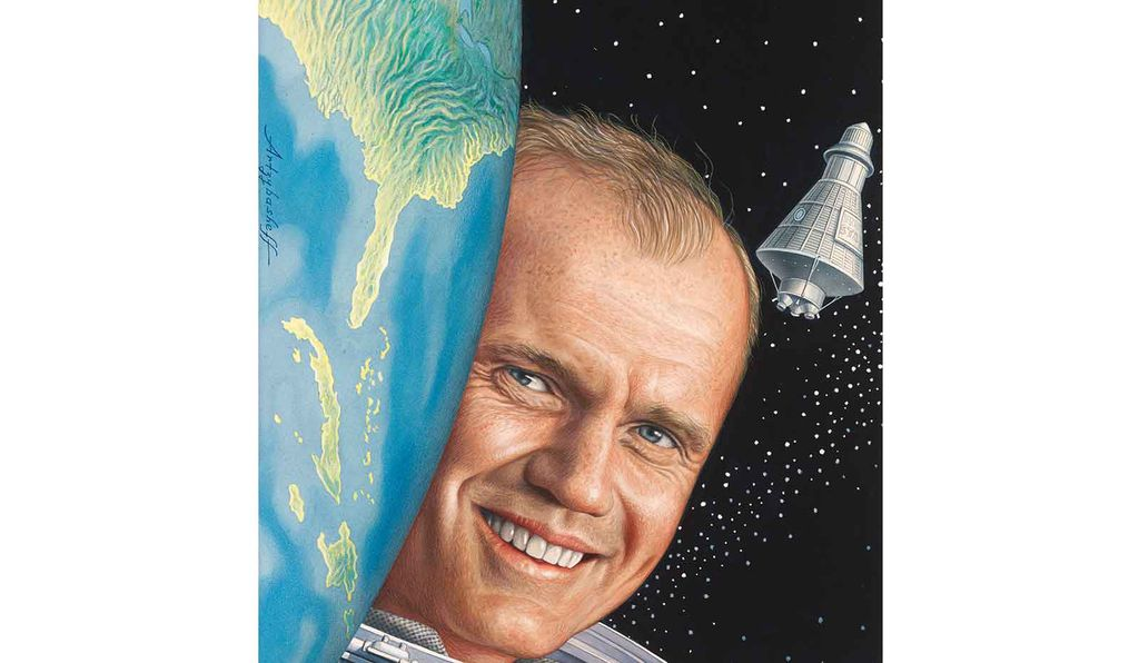 <em>John Glenn</em> by Boris Artzybasheff, 1962, is from the <em>Time</em> magazine collections at the National Portrait Gallery.