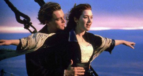 Leonardo DiCaprio and Kate Winslet in James Cameron's Titanic.