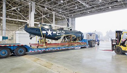 Last November the Curtiss SB2C 5 moved into its new digs at the Museum's Steven F Udvar Hazy Center where it awaits restoration
