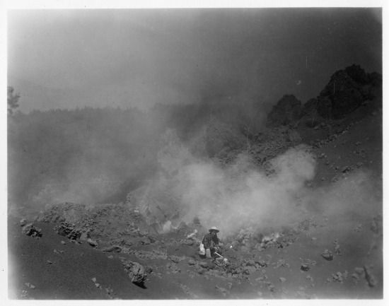 The Paricutin Volcano, 1943, taken by William F. Foshag, NMNH curator of minerals.