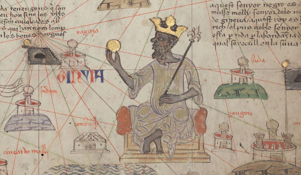"""One of the very first maps of the ancient world shows Europe and Britain on the periphery. On the other edge, it has the Middle East. But to the south, holding a gold nugget is Mansa Musa, and he's not on the edge of a map, he is seen at the center of a nexus of roads, which all radiate toward this new intellectual center: Timbuktu,"" Casely-Hayford says"