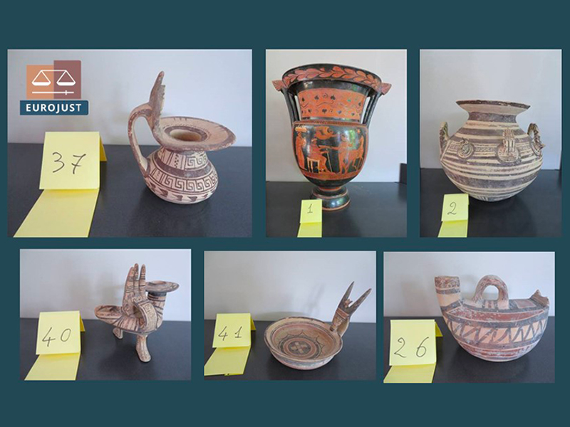 A collage of six different pieces of ancient pottery, including ones that bear red and black decorations and others with striped and decorative motifs