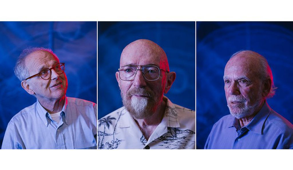 LIGO's founding fathers, from left: Rainer Weiss, Kip Thorne and Barry Barish. Not pictured: Ronald Drever