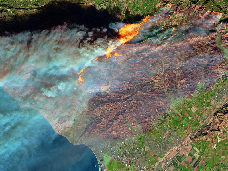 False-color satellite image of the Thomas Fire's burn scar and active flames, in northern Ventura, on December 5, 2017.