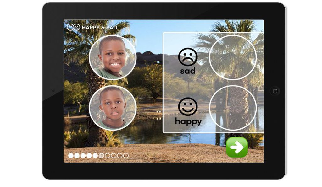 An exercise in the Skill Champ app: images help illustrate different emotional cues.