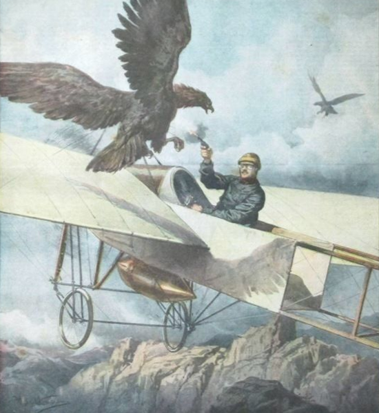 Eugene Gilbert in Bleriot XI attacked by eagle over Pyrenees in 1911 depicted in this painting