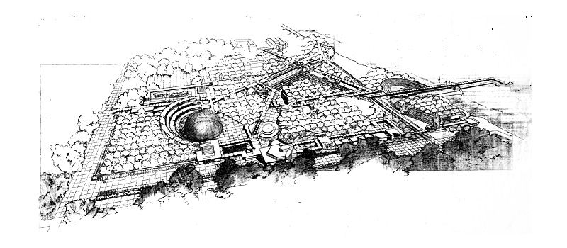 Early concept drawing of the FSC campus by Frank Lloyd Wright (image: FLorida Souther College Library)
