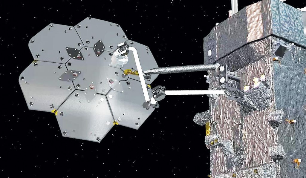 A Maxar Technologies rendering depicts the firm's Space Infrastructure Dexterous Robot (SPIDER) bolting together a seven-panel communications antenna in orbit. SPIDER is also expected to build a spacecraft beam during its first deployment in 2023.