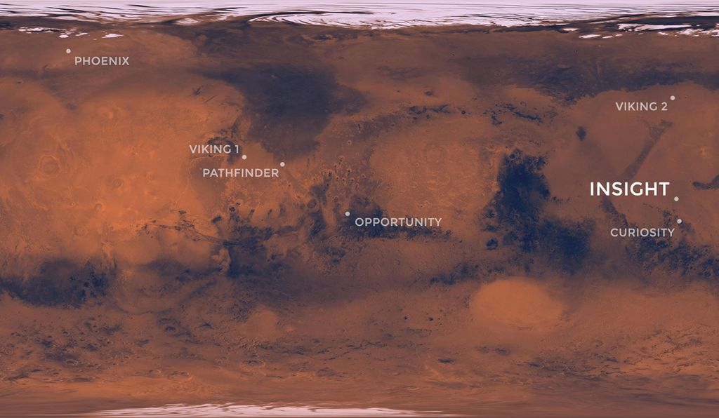 A map of Mars, showing the locations of all seven of NASA's successful landings along with InSight's landing site in the flat region of Elysium Planitia.