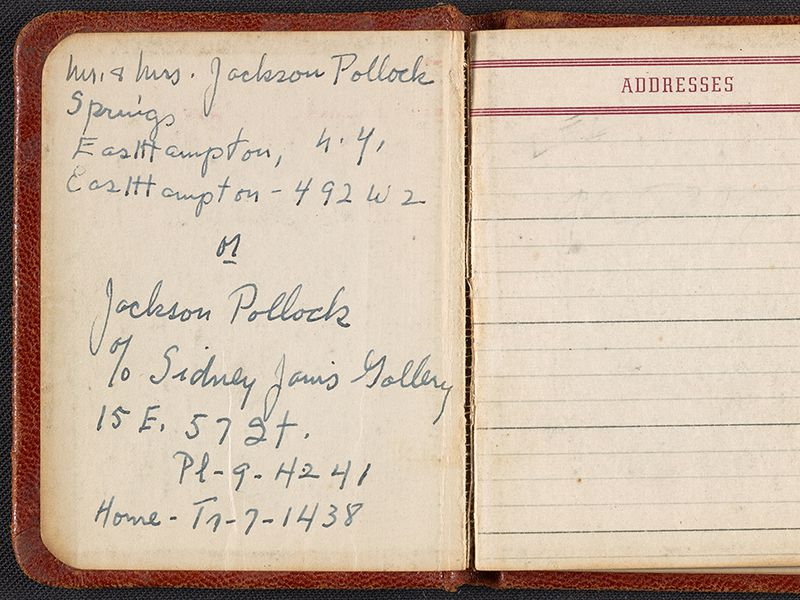 Jackson Pollock and Lee Krasner's address book