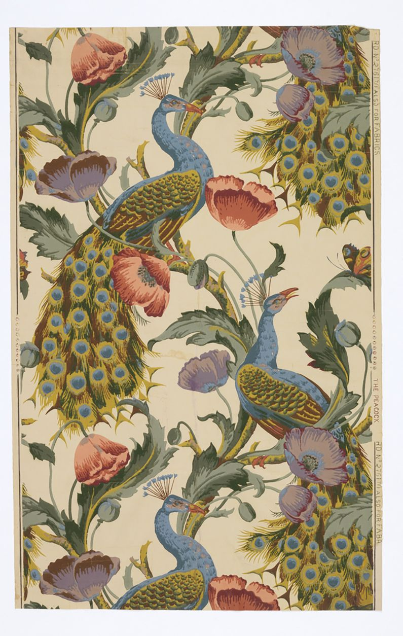 On machine printed paper, a repeated motif of two azul and golden peacocks surounded by purple and pink poppies connected with vines on an off-white background.