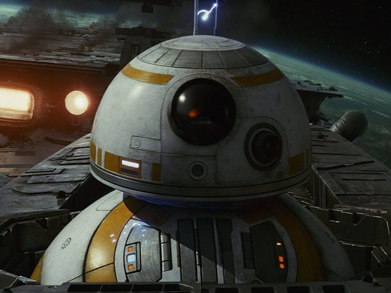 "BB-8 is an ""astromech droid"" who first appeared in The Force Awakens."