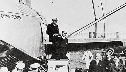 Thousands watched the China Clipper as it set off on the first trans-Pacific airmail flight on November 22, 1935.