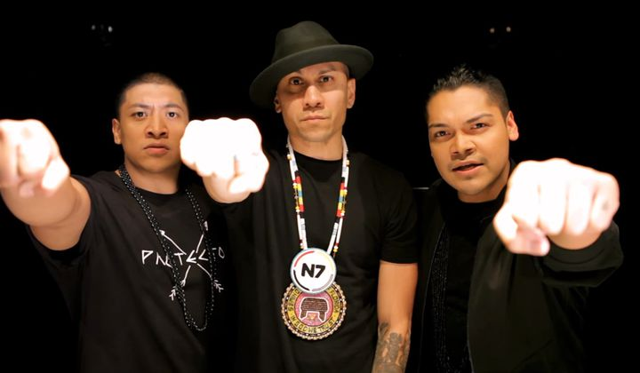 "From left to right: Zack ""Doc"" Battiest, Taboo of the Black Eyed Peas, and Spencer Battiest in the music video"