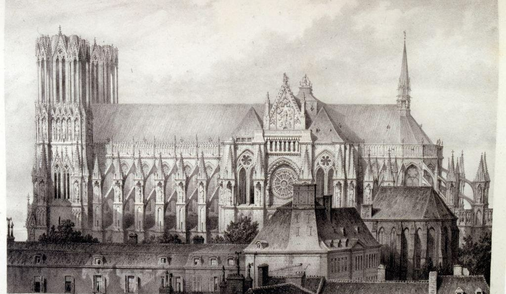 Drawing of the Cathedral of Notre-Dame de Rheims, France 1857. Illustrated in 'Voyages pittoresques et romantiques' (Picturesque and romantic journeys in ancient France), by Isidore Taylor, (baron Taylor) 1857.
