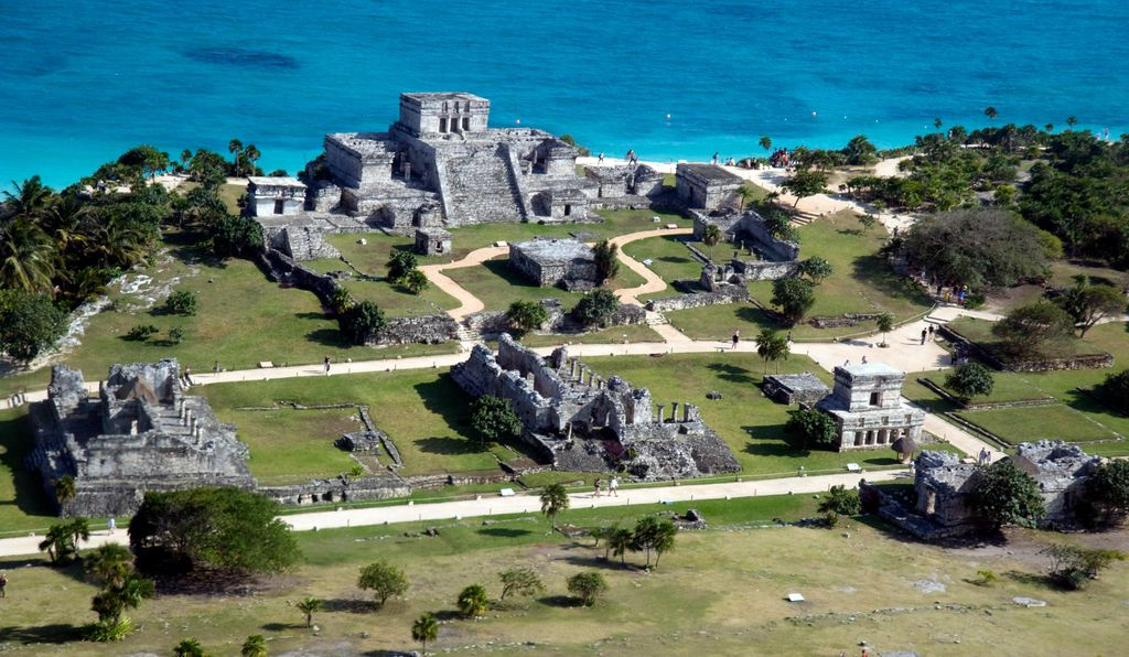 Aerial view of Tulum from helicopter window.