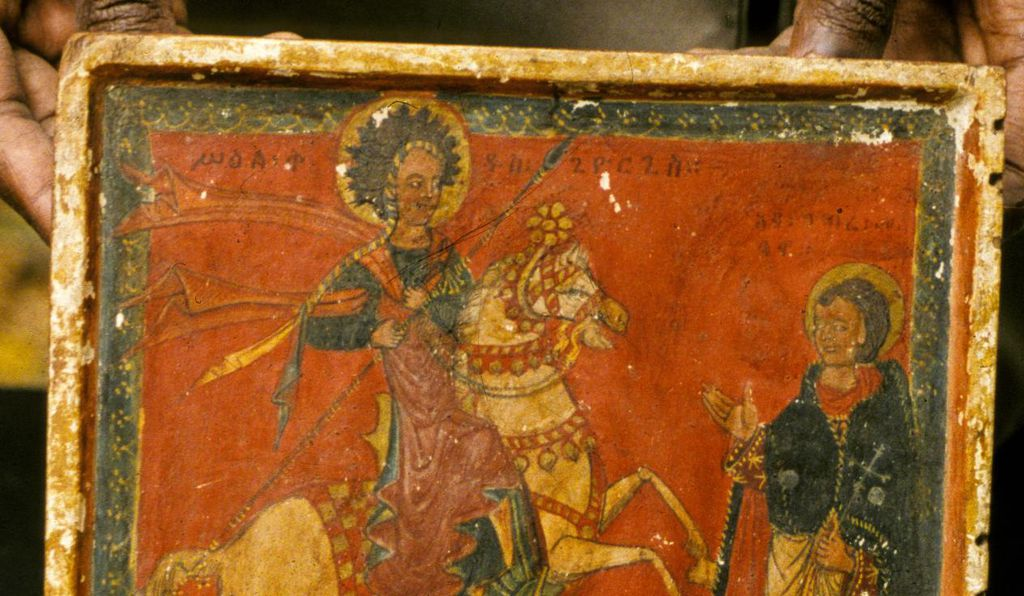 Right wing of a diptych of St. George and a saint, late-15th or early-16th century, Institute of Ethiopian Studies, Addis Ababa,