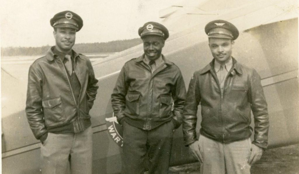 Tuskegee Airmen (Young on the right, with unidentified colleagues)