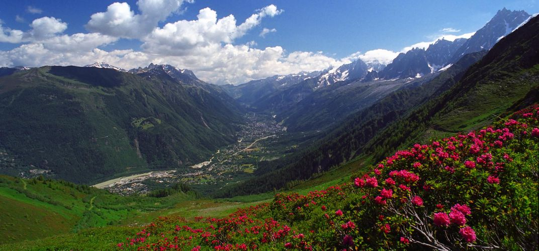 View of Chamonix from the mountainside