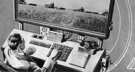 The farmer of the year 2031 works at his large flat-panel television (1931)