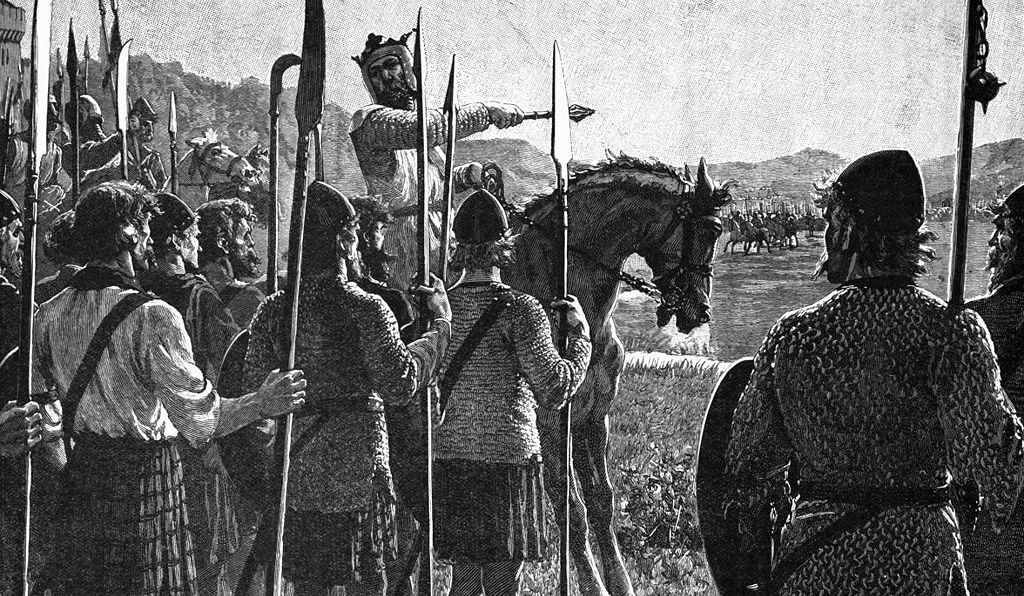 Bruce addresses his troops at the 1314 Battle of Bannockburn in this 1909 drawing by Edmund Leighton