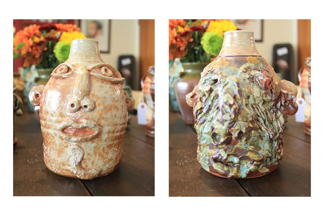 Right: Small ceramic jug shaped like a human face. Left: Reverse of the previous face jug, showing what may be a face, but it is so mangled with deep grooves, scratches, and discolorations that it's difficult to tell.