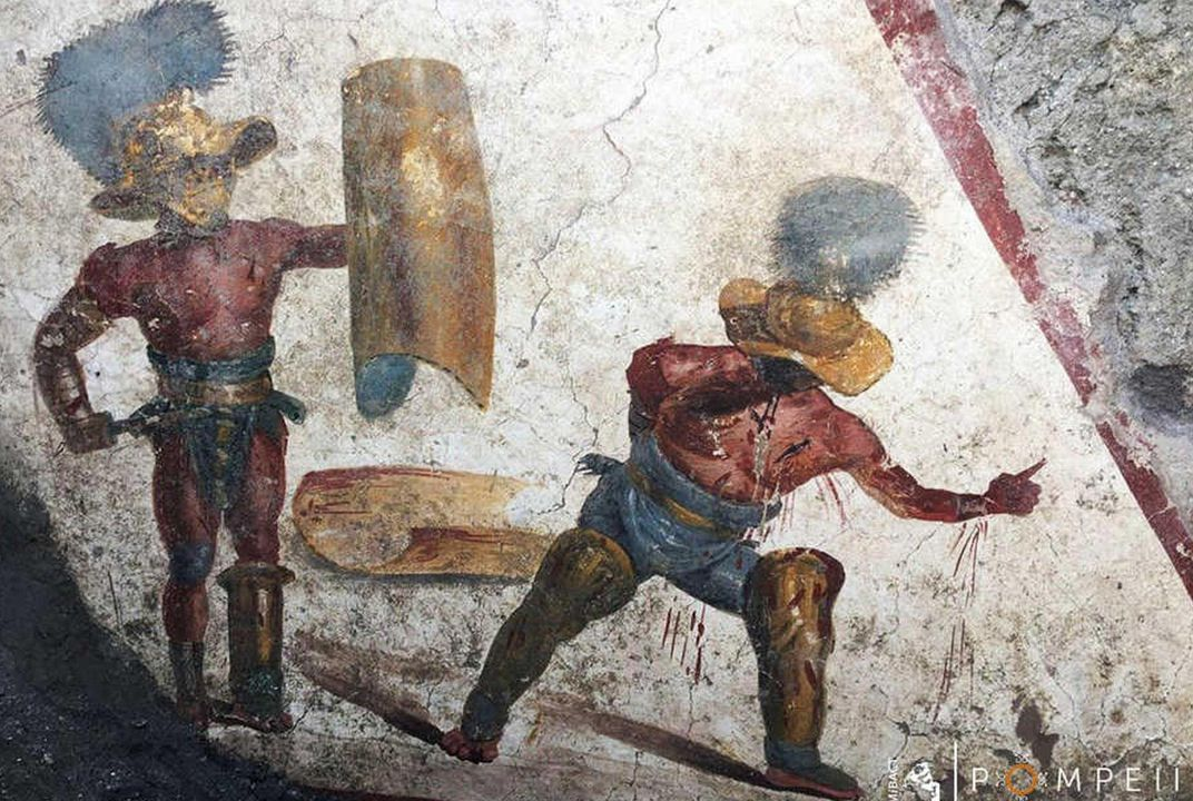 Archaeologists Unearth Bloody Gladiator Fresco in Pompeii