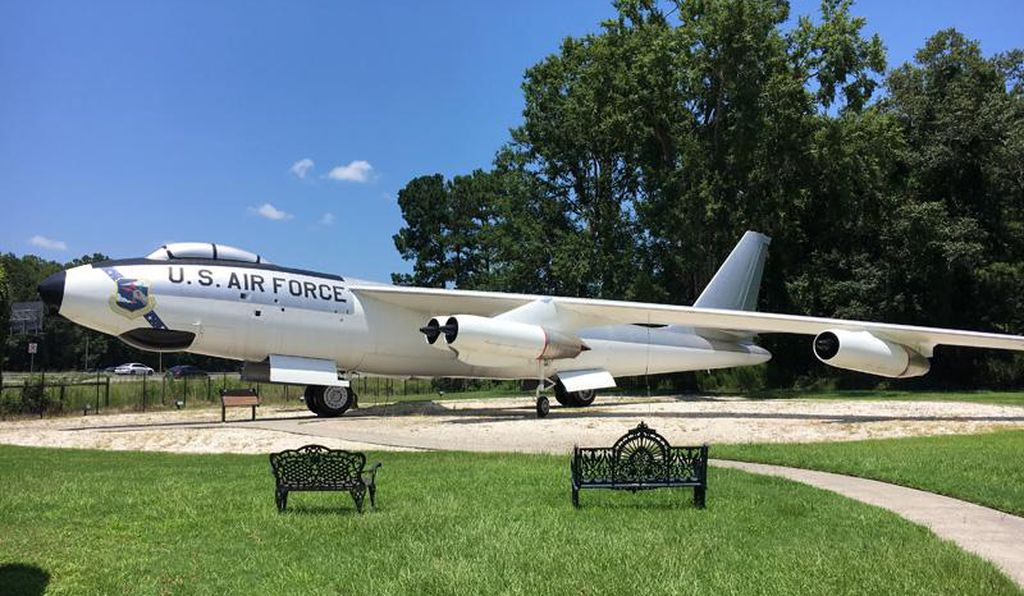 A Cold War-era B-47 Stratojet is on display in the Memorial Gardens, behind the museum.