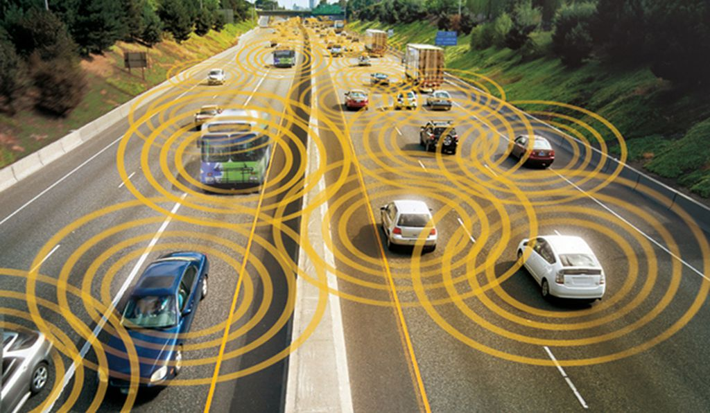 In the not too distant future, cars could use sensors and communication technology to maintain fixed distances from neighboring vehicles.