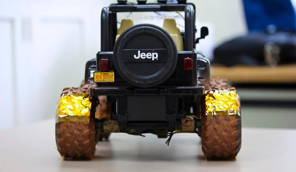 The toy Jeep with nanogenerators on its tires (UW-Madison College of Engineering)