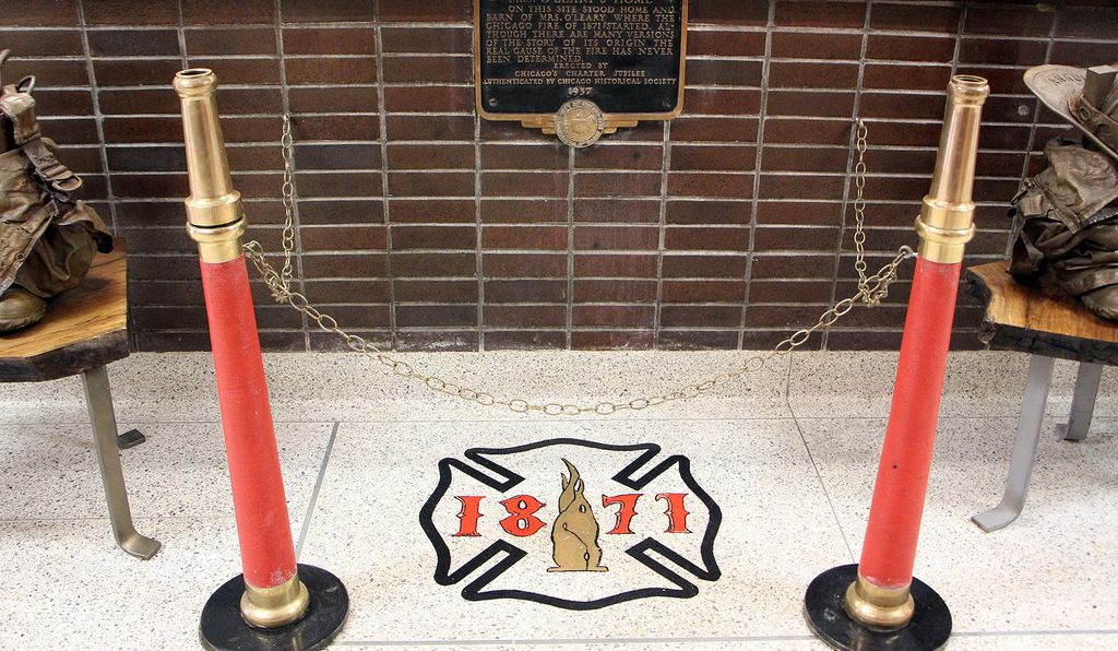 This emblem marks the exact spot where the Great Chicago Fire began.