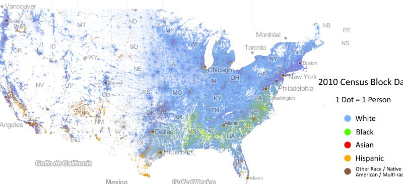 This Map, With a Dot for Every American, Shows the Country\'s Racial ...