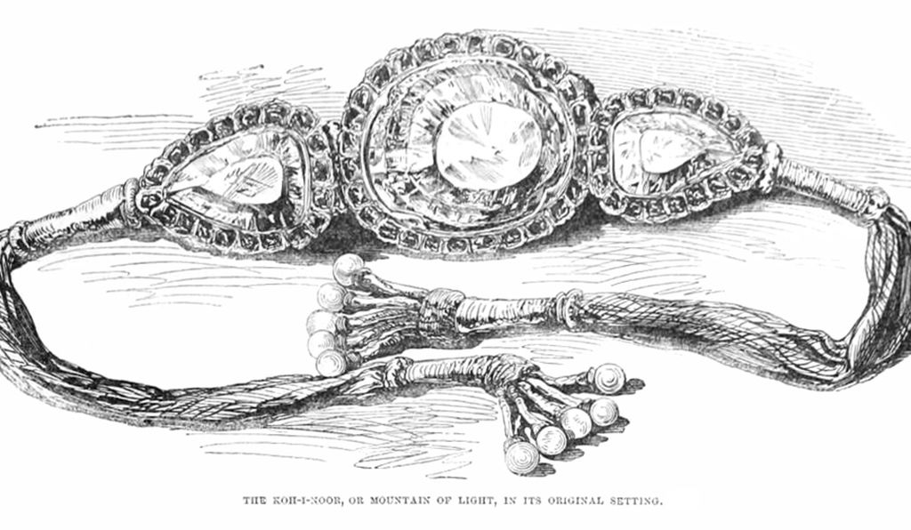 An illustration of the Koh-i-Noor diamond (center), as it was worn before being signed over to the British.