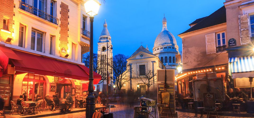 Montmartre and Sacré Coeur in the evening