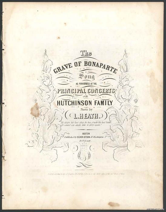 """Cover of sheet music for """"The Grave of Bonaparte"""""""