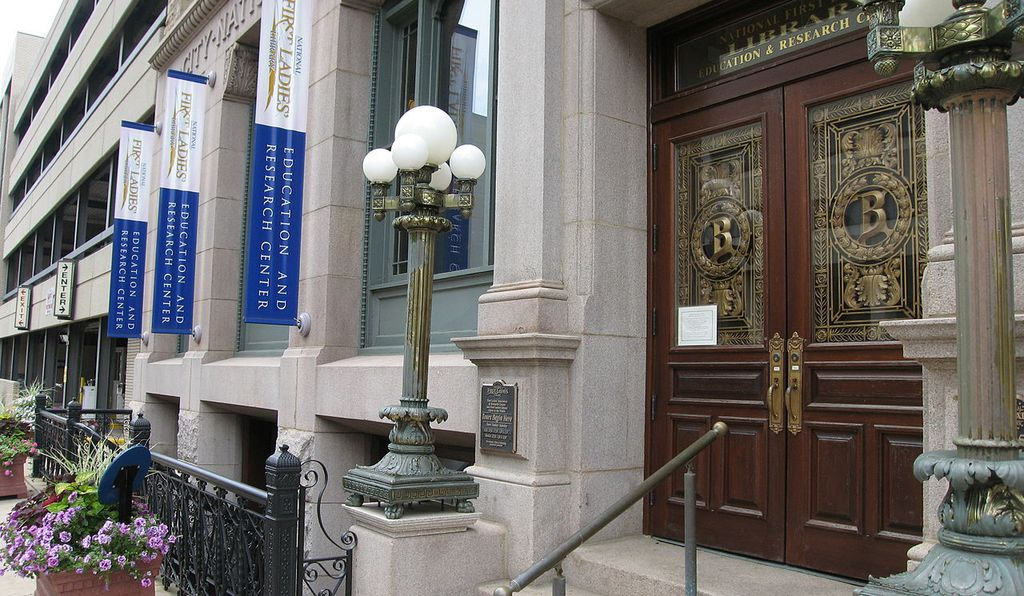 The main entrance of the First Ladies National Historic Site at the 1895 City National Bank Building in Canton, Ohio