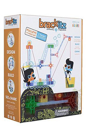 Preview thumbnail for 'Brackitz Pulleys 77 PIece Set Educational Construction Set - Learning Toys & Building Blocks for Kids