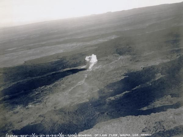1935 bomb detonating on Mauna Loa in an attempt to divert lava flow