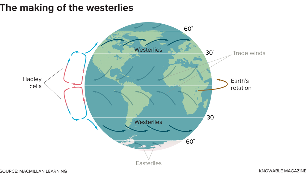 The westerly winds encircling the globe in both hemispheres between 30 and 60 degrees latitude are driven by two major forces. Global atmospheric circulation systems called Hadley cells are created by warm air rising near the equator, traveling toward the poles and then cooling and sinking back toward Earth near 30 degrees latitude in each hemisphere. The Coriolis force created by Earth's rotation deflects some of that downward-moving air toward the east, which forms the westerlies.