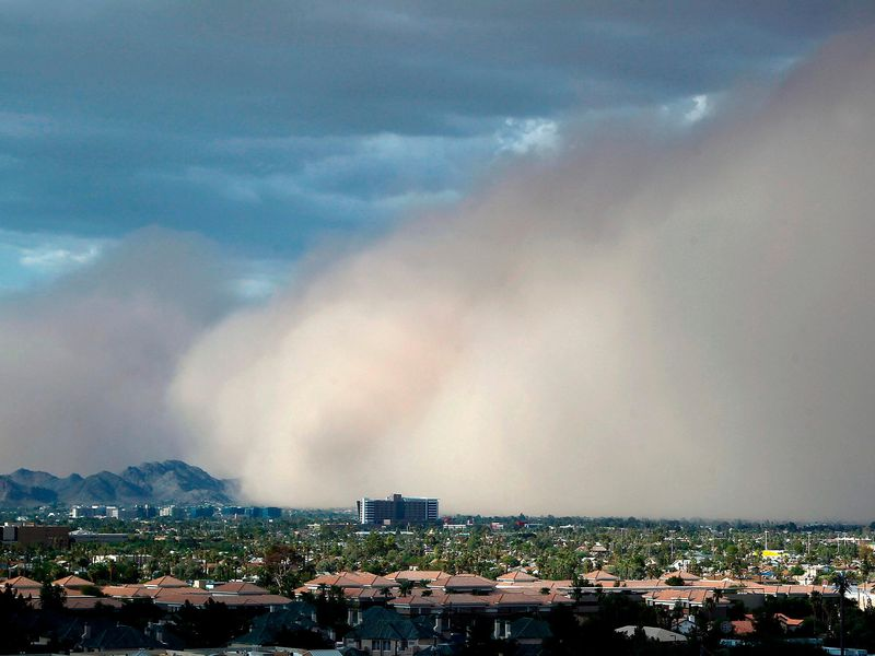 A large dust storm, or haboob, sweeps across downtown Phoenix on July 21, 2012.
