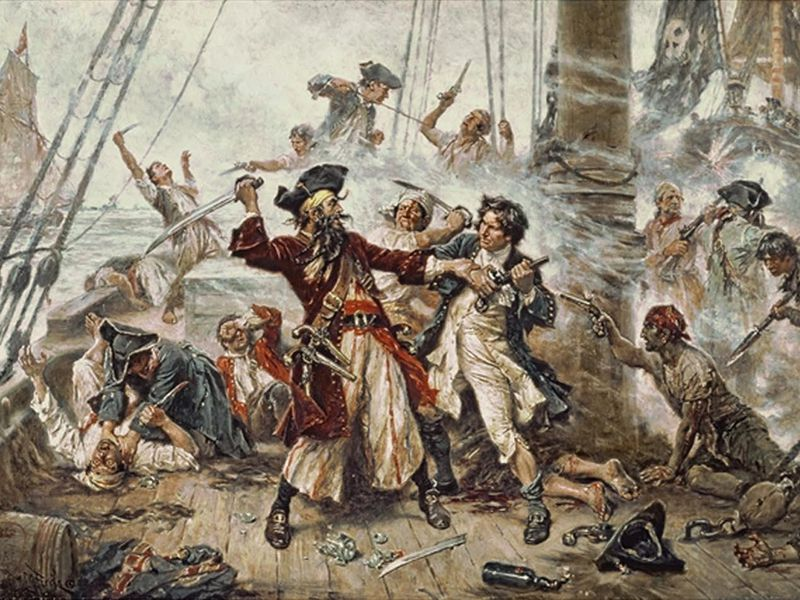 Capture of the Pirate, Blackbeard, 1718, Jean Leon Gerome Ferris, painted in 1920