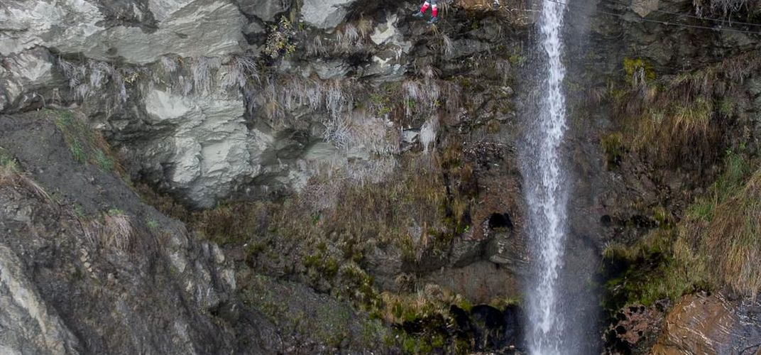 Caption: Climb a 2,500-Rung Ladder Up New Zealand's Towering Twin Falls