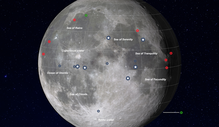 Map Shows All 21 Successful Moon Landings