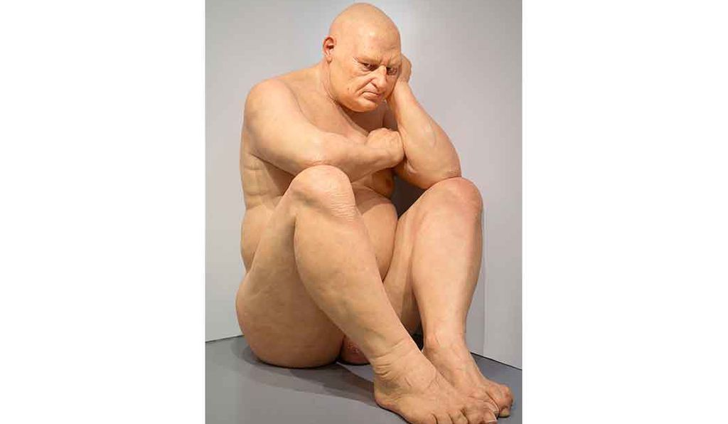 <em> Untitled (Big Man)</em> by Ron Mueck, 2000, is on view at the Smithsonian's Hirshhorn Museum and Sculpture Garden through August 6, 2017.