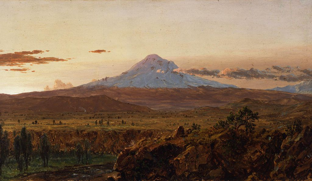 Reading Humboldt's advice to landscape painters calibrated Frederic Edwin Church's dual interests in science and art. His two trips to South America (above: <em>Mount Chimborazo at Sunset,</em> 1857) were directly inspired by Humboldt.