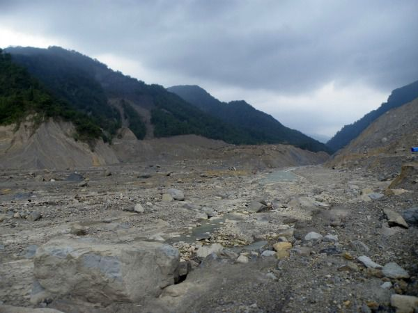 A view within the debris of Taiwan's Xiaolin landslide.