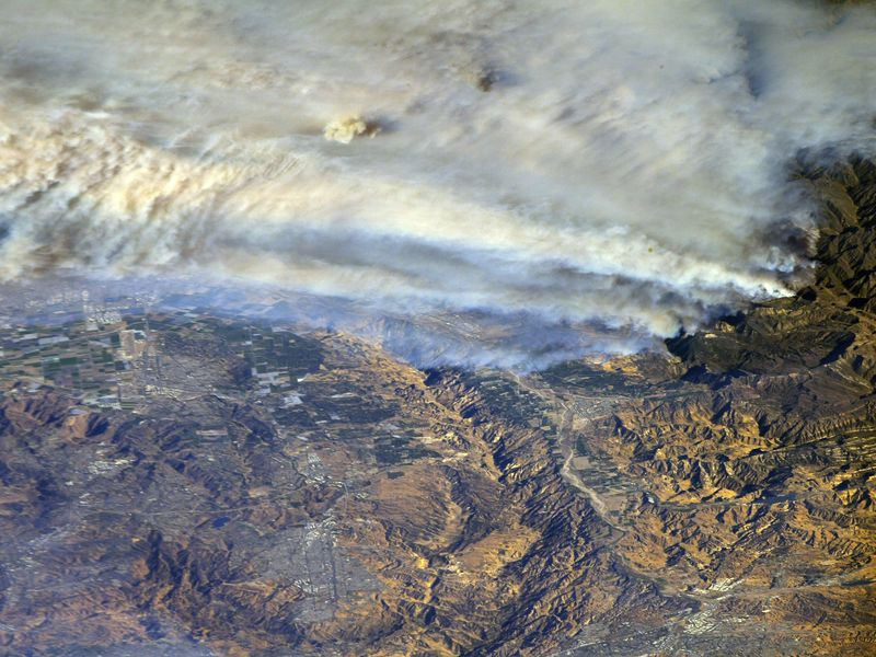 A view of the California fires taken from the International Space Station
